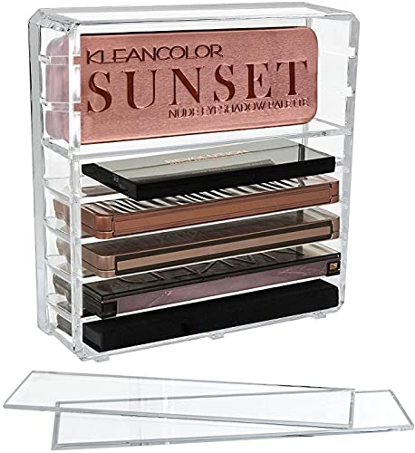 Discoball Boîte de rangement compacte en acrylique à 8 compartiments pour fards à paupières et accessoires de maquillage avec séparateurs amovibles Transparent