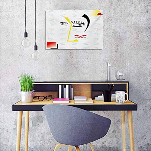 Modern Wallpaper Sticker Abstract Trippy Artful Design with Fractured Human Face and Eyes Geometric Backdrop Image Personalized Wall Decals 28x20 Inch