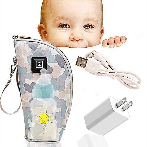 QUERLY Baby Bottle warmer cover, Portable Car Travel Bottle Warmer USB Milk Heat Keeper Maintain Milk Warm,Infant Feeding Bottle Thermostat for indoor,Outdoor, Traveling,Driving (Camouflage-zipper)