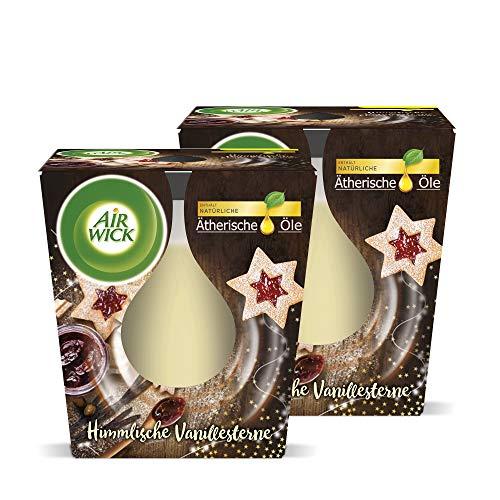 Airwick Wohlfühl-Duftkerze Duo Himmlische Vanillesterne, Duftkerzen im Glas, Kerzenset Winter, 2 Stück