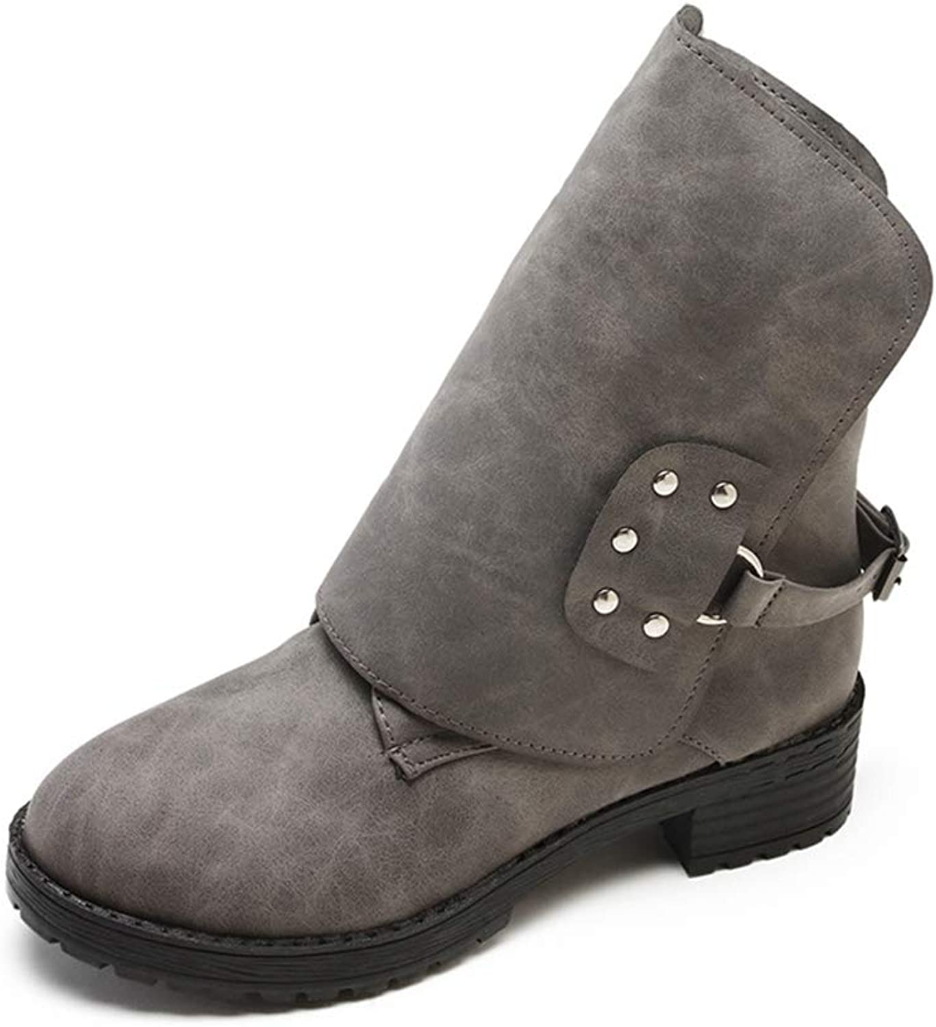 Women Wide Calf Ankle Boots Round Toe Flat Low Heels Soft PU Leather Short Booties, Wear-Resist Rubber Sole