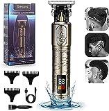 Suttik Recortadora de barba para hombres - Cortapelos con pantalla LCD - Cuchillas afiladas de titanio de precisión Recargable Inalámbrico Eléctrico Zero Gapped T Blade Trimmer Cortadora de cabello