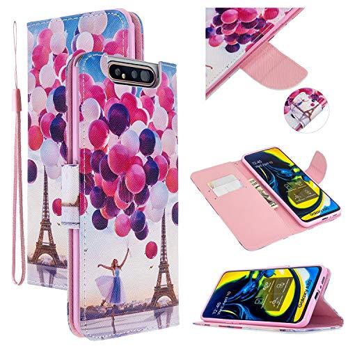 Nadoli Leder Hülle für Samsung Galaxy A80/90,Ballon Turm Pu Leder Buchstil Magnetverschluss Trageschlaufe Klapphülle Brieftasche Schutzhülle mit Standfunktion