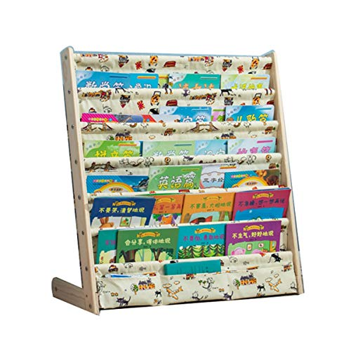 Los niños de madera de estantería, el dormitorio de niños de muebles, librería de visualización y almacenamiento en rack, los colores naturales de estantería de dibujos animados, decoración del hogar,