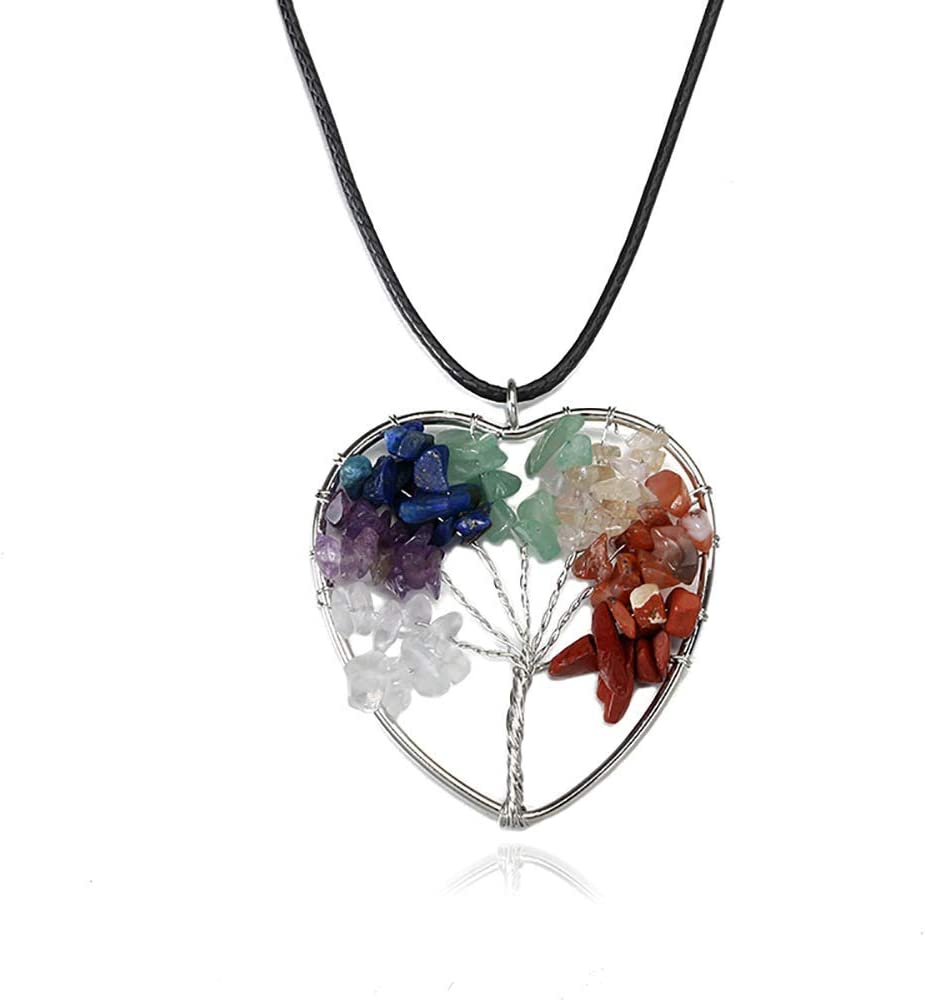 PULABO 1X Women Necklace Jewellery Colorful Heart Tree Pendant Chain Necklace Collar Choker Necklace Jewellery Valentines Gift Comfortable and Environmentally Popular
