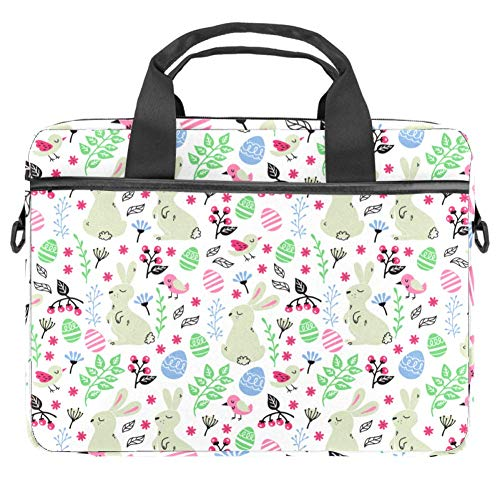 Flowers Bunnies Birds Laptop Bag for Men and Women,Laptop Computer and Tablet Shoulder Bag Carrying Case 15 Inch Durable Office Bag