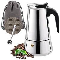 owoda caffettiera italiana, 4 tazze (200ml) caffettiera caffè espresso acciaio inossidabile per piani cottura a induzione, a gas e vetroceramica per caffè espresso