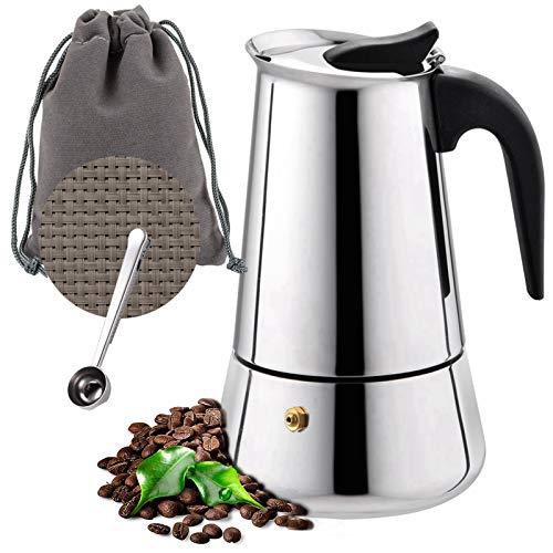 O'woda Espressokocher Set Edelstahl Mokkakanne mit Untersetzer, 4 Tassen Espresso Maker 200ml, Löffel, Tragebeutel, Induktion Coffee Maker Herde geeignet