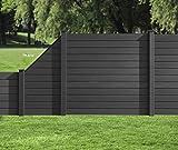HORI WPC-Zaun I Sichtschutz-Zaun, Steckzaun, Gartenzaun Komplettset I beidseitig glatt I 1x Schräg + 1x kl. Pfosten I zum aufschrauben I anthrazit