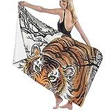 ZQHRS Premium Badetücher Handtücher für Zuhause, Hotel, Spa, Strand - Coole japanische Tiger Tier Malhandtücher, ultraweiche Dusche & Badetuch Extra große Badeschalen mit hoher Saugfähigkeit
