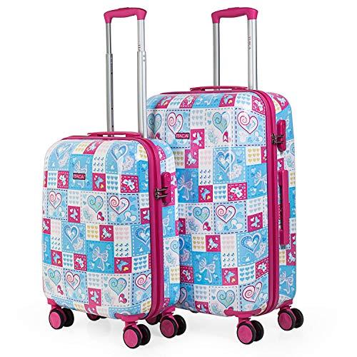 ITACA - Juego de Maletas de Viaje Juvenil Infantil Niña Niño 4 Ruedas Set Trolley 2 Pzs.(Cabina Pequeña (Equipaje Avión) y Mediana). Resistentes, Rígidas, Cómodas y Ligeras. Calidad, Color Azul-Fucsia