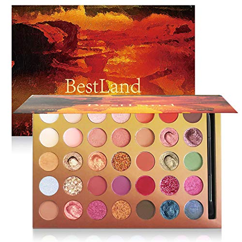 Pro 35 Colors Glitter Eyeshadow Palette with Eyeshadow Brush,Highly Pigmented Pressed Soft Creamy Metallic Matte Shimmer Naked Eye Shadow Powder Makeup Palette Set