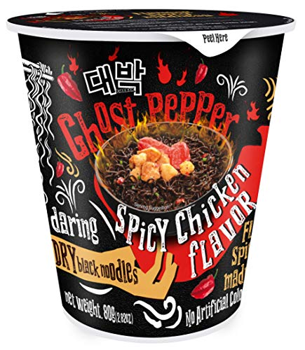 Daebak Ghost Pepper Spicy Chicken Black Noodles, Hot Chicken, 2.82 Oz (Pack of 6)