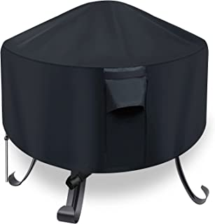 YUZ Fire Pit Cover for Round Fire Pit 22 inch Heavy Duty Outdoor Fire Pit Cover Waterproof Dustproof Anti UV Full Coverage Patio Round Fire Pit Cover with Air Vent and Handle