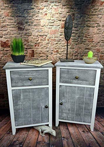 Livitat® Nachttisch Nachtschrank Kommode Used Landhaus Shabby Vintage Weiß Grau LV1052 (2er Set)