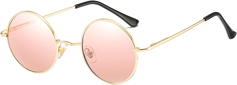 Kennifer Gafas de sol de protección UV400 polarizadas redondas clásicas con marco de metal circular vintage estilo Lennon para hombres y mujeres