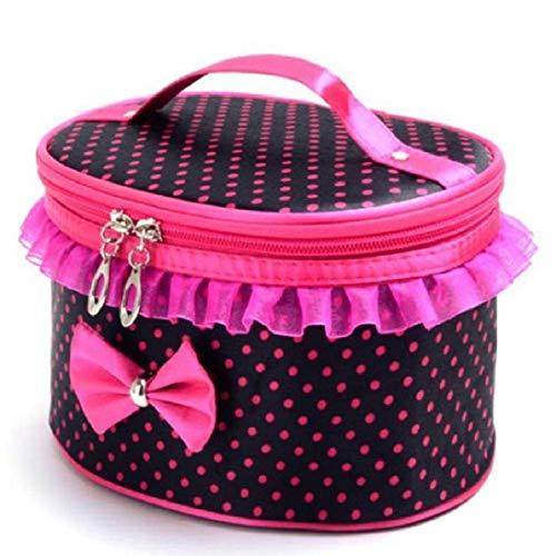 Willlly Kosmetiktasche Tragbare Make Up Tasche Casual Chic Schleife Punkte Toiletry Spitze Kosmetik Organizer Halter Handtasche Taschen (Color : Colour, Size : One Size)