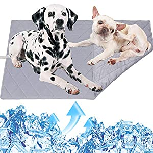 Reversible Pet Cooling Mat Pad for Dogs Cats, Extra Large Dog Summer Sleeping Blanket for Kennel Sofa Bed Cave Floor Car Seats,Multi-purpose Washable Dog Rug Carpet,Keep Pets Cool Comfort,31.5″x39.4″