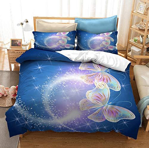 Dream Butterfly juego de cama con funda nórdica para adultos y adolescentes, ropa de cama con funda nórdica 3D, cama individual suave y cómoda, cama doble, textiles para el hogar-C_200x200cm (3pcs)