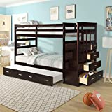 Bunk Bed with Trundle for Kids, Twin Over Twin Bunk Beds with Staircase, Solid Wood Trundle Bed with Rails and Storage Drawers (Dark Brown)