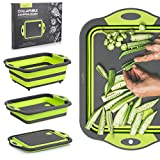 Veecho Collapsible Cutting Board / Camping Wash Basin / Colander / 3 in 1 Multi-function / Dish Tub / Fruit & Veggie Basket / Drain & Storage Bowl / Ice Bucket / for Space Saving Kitchen Efficiency