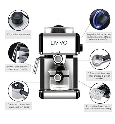 LIVIVO Coffee Maker Machine 2020 Model with Milk Frothing Arm for Cappuccino, Espresso and Filter Ideal for Home and Office (Noir)