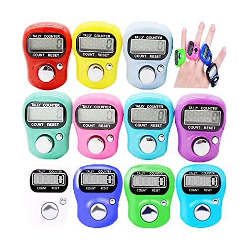 Biluer Mini Fingerzähler, 12PCS Elektronischer Zähler Rundenzähler Handzähler LCD Zähler Reihenzähler Mengenzähler Für Docks Bushaltestellen Schulen Stadien Trainingsaktivitäten(Mischfarbe)
