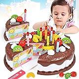Alician 37pcs / Sets Juguetes Divertidos Pastel de cumpleaños Modelo de Bricolaje Niños Niños Educación temprana Juego de imaginación Cocina Comida Plástico Juguetes