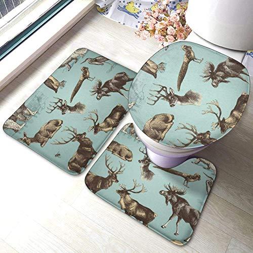 kglkb Badezimmer Vorleger 3-Teiliges Vektor Set Wild Animals Mode Bad Teppich Matten Badematte+ Kontur+ Toilettendeckel Für Die Inneneinrichtung