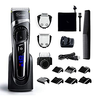 Hatteker Mens Hair Clipper Hair Trimmer Beard Trimmer Cordless Hair Cutting Kit for Men Grooming Kit Precision Trimmer Waterproof Rechargeable