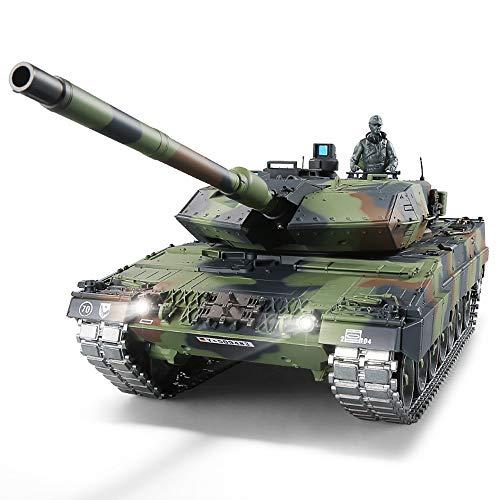 """RC Panzer mit Schussfunktion ferngsteuert """"German Leopard 2A6"""" Heng Long 1:16 mit R&S, Metallgetriebe (Stahl) und Metallketten -2,4Ghz -V 6.0 - PRO"""