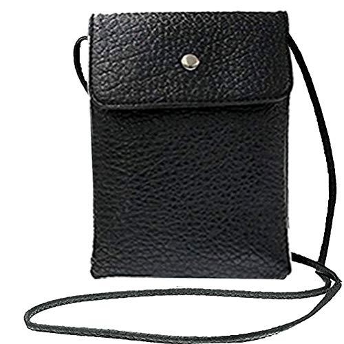 Donalworld, mini borsello per telefonino, da donna, doppio strato, in poliuretano, a tracolla, nero (Black), S
