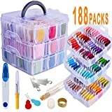 188 Pack Embroidery Floss Set Including 150 Colors Cross Stitch Friendship Bracelets Thread with Floss Bins...