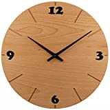 Wanduhr Holz, Buche Natur Massivholz, Holzuhr Wand, besteht aus 12 Dreiecken - Design, sehr leises Junghans Quarz Uhrwerk, ⌀ 30cm rund modern, Qualitätsprodukt, handgemacht in Österreich, exklusiv