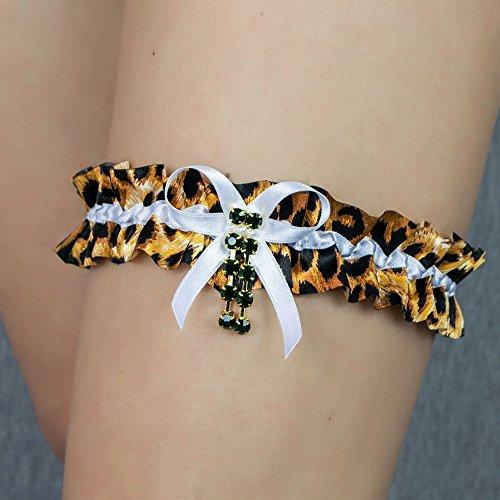 Strumpfband leopard tigre animal Hochzeit Braut Brautkleid Swarovski PerlenUnterwaesche