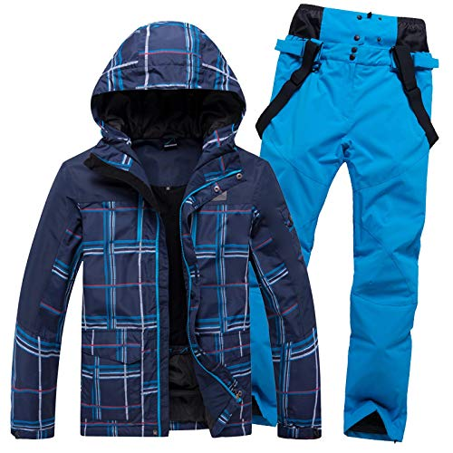XHBYG Winterwarmer Schneeanzug, Skianzug für Herren Warmer winddichter wasserdichter Outdoor-Sport Schneeschuhe und Hosen Herren Skifahren Snowboardmantel L 01