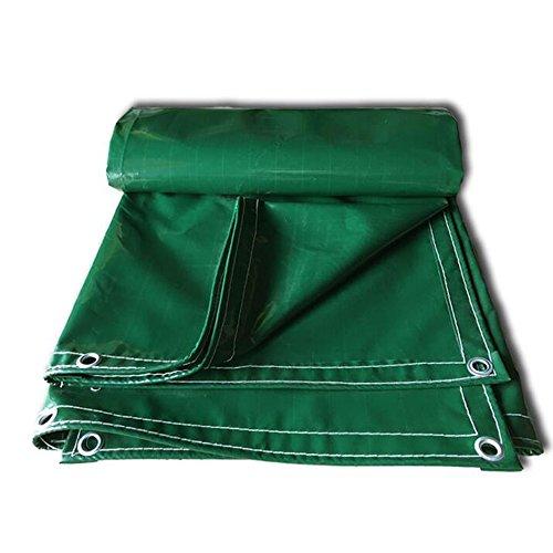PJ Tente bâches Couverture Verte de bâche de Polyester résistante - bâche imperméable,de déchirure et de déchirure épaisse avec des Oeillets et des Bords renforcés 600g / m² -0.55mm