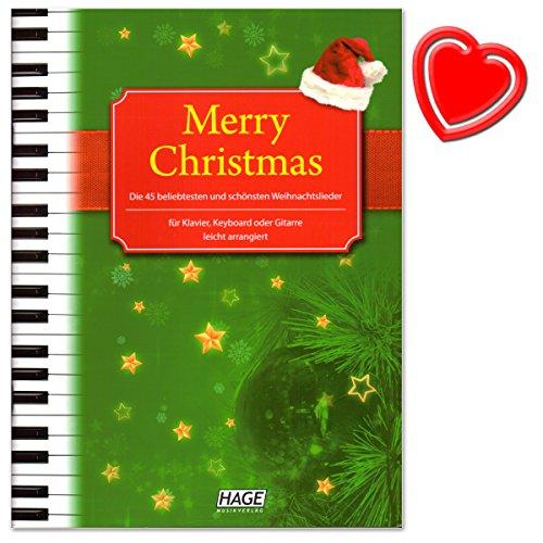 Merry Christmas - 45 beliebtesten und schönsten Weihnachtslieder für Klavier, Keyboard oder Gitarre - mit bunter herzförmiger Notenklammer - 4026929901927