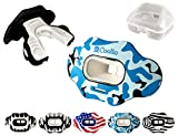 COOLLO SPORTS Lip Guard MAXX Football and High Impact Sports Mouthguard Lip Protector for Adults & Youth (Helmet Strap Included) (Blue Camo -(Two Layers), Without Case (Adult 8+))