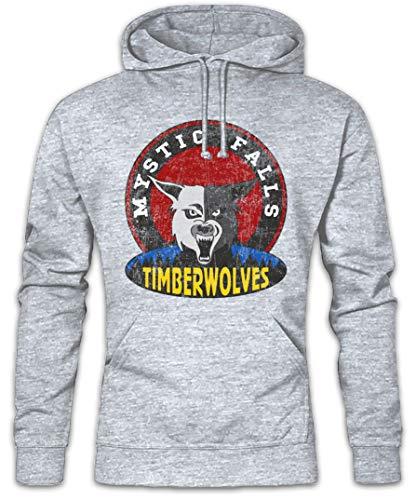 Urban Backwoods Mystic Falls Timberwolves Hoodie Kapuzenpullover Sweatshirt Grau Größe S