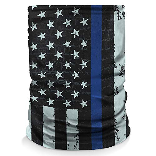 Controller Gear Neck Gaiter Face Mask Scarf, Made in the USA. Sun & Dust Protection, Sport, Bandanas for Fishing, Hiking, Cycling, Motorcycling - Blue Stripe Flag - Not Machine Specific