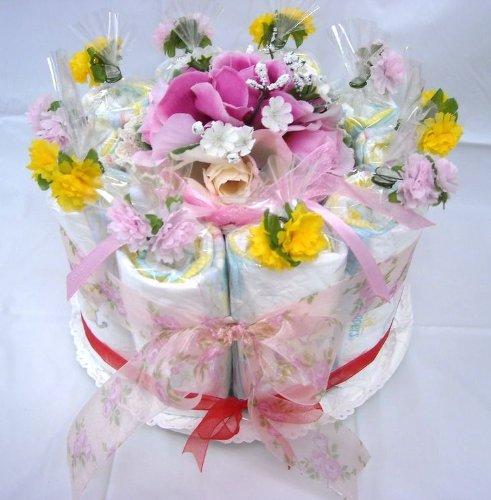 ご出産お祝い<おむつケーキ> リーズナブルなお値段のかわいいおむつケーキ フラワーB(女の子用ピンク系)パンパースS