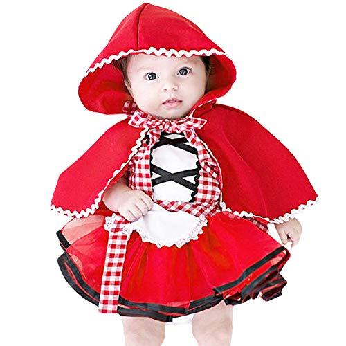 IBTOM CASTLE Costume di Carnevale da Cappuccetto Rosso Vestito per Bambina Ragazza Travestimento Veneziano Halloween Cosplay Principessa Festa Cerimonia Compleanno Natale Fotografia 2-3 Anni