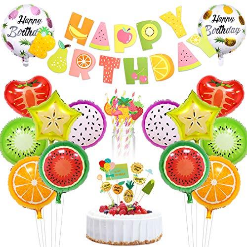 Tutti Frutti Decoraciones de fiesta Fruta Feliz cumpleaños Estandarte de papel Torta Pastel Topper Foil Globos para Fruity Party Supplies