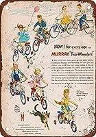 自転車に乗る子供たち、ブリキのサインヴィンテージ面白い生き物鉄の絵画金属板ノベルティ