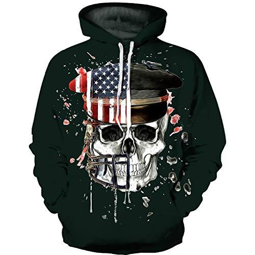 GEFANENR Unisex 3D Druck Hoodie,Military Cap Skull Männer Frauen Liebhaber Langarm Pullover Sweatshirt Jacke Shirt Mantel Wild Big Size Neuheit Hooded Oberbekleidung Mit Tasche,L