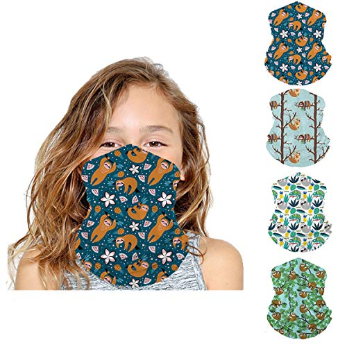 Fenbory 4 Pack Kids Neck Gaiters Face Mask Mouth Cover Breathable UV Protection Balaclava headwear Scarf-Sloth