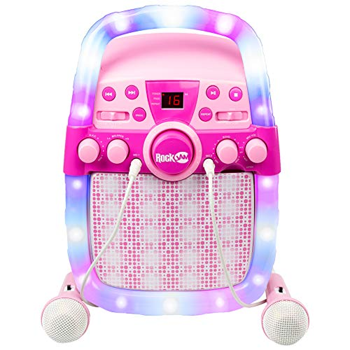 RockJam CD & Bluetooth Karaoke Machine With Two Microphones, Echo Control & LED Light-show - Pink