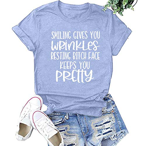 🍒 Spring Color 🍒 Women's Summer Girls Short Sleeve Tee, Letter Printed O Neck Loose Comfy T-Shirt Tops Blouse Tees Shirt Gray