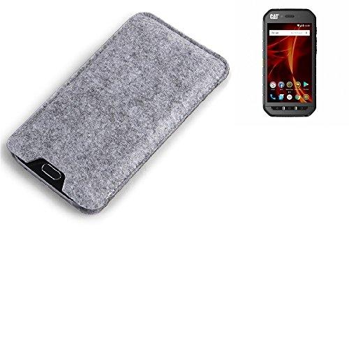 K-S-Trade® Filz Schutz Hülle Für Caterpillar Cat S41 Dual-SIM Schutzhülle Filztasche Filz Tasche Hülle Sleeve Handyhülle Filzhülle Grau